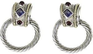 David Yurman David Yurman Sterling Silver 14K Iolite Garnet Doorknocker Earrings