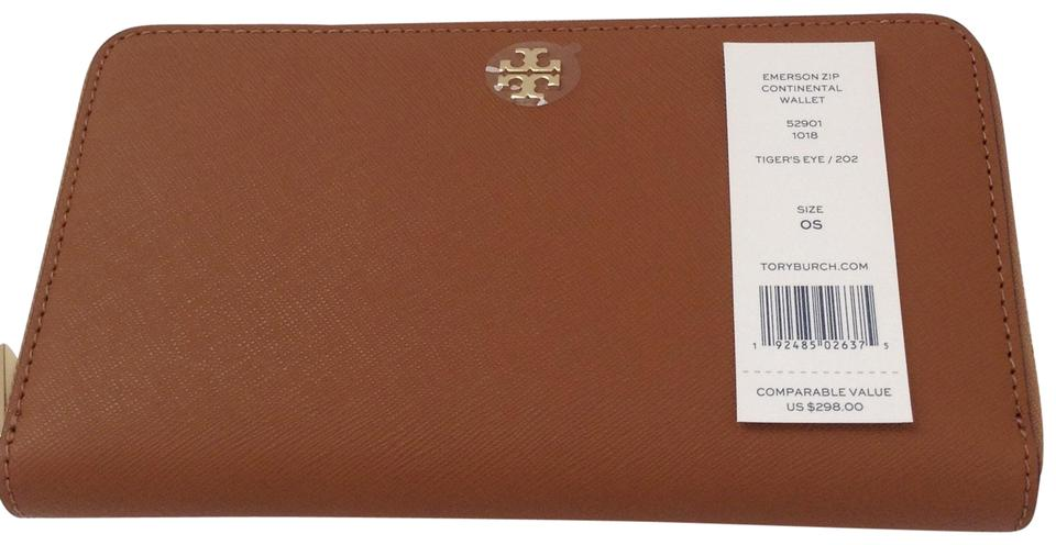 2a55c27be9e Tory Burch Brown Emerson Continental Zip Tigers Eye Leather Wallet ...