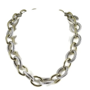 "David Yurman David Yurman Sterling Silver 18K 17"" Extra Large Oval Link Necklace"