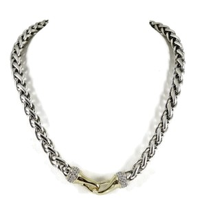 "David Yurman David Yurman Sterling Silver 18K 18"" 8mm Diamond Wheat Chain Necklace"
