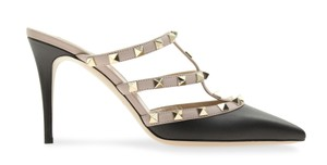 Valentino Studded Pointed Toe Leather Branded Insole multicolored Mules
