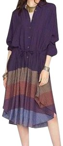 Plum Blue Maxi Dress by Free People Dolman Sleeves Textured Stripes Internal Drawstring Flowy Skirt Front Buttons