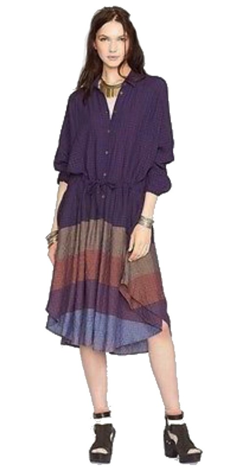 b56c5658101b Free People Plum Blue Textured Stripes Mid-length Casual Maxi Dress ...