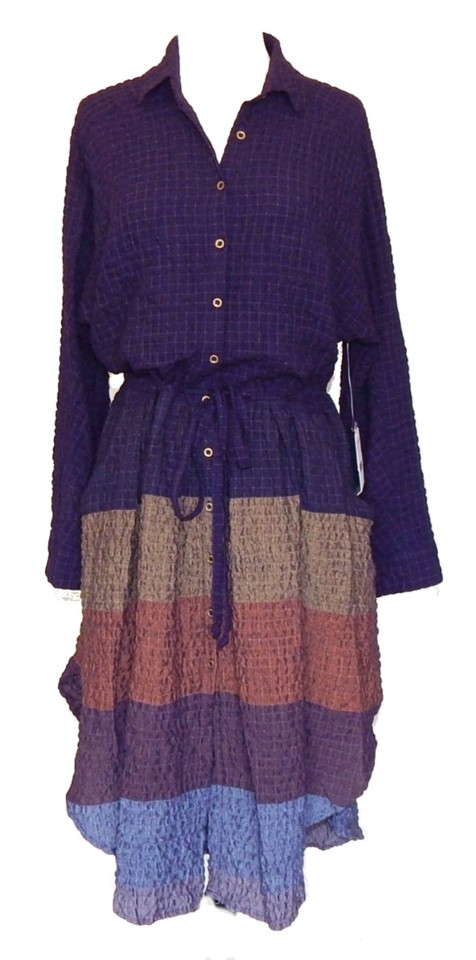 3d90e32044aa Plum Blue Maxi Dress by Free People Dolman Sleeves Textured Stripes  Internal Drawstring Flowy Skirt Front. 12345678910