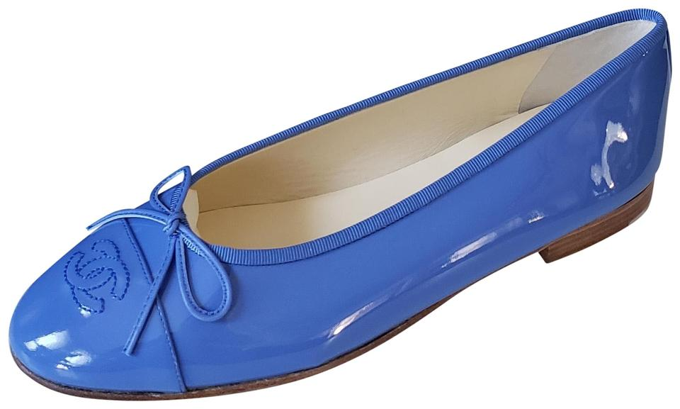 477115b8f Chanel Blue 16c Patent Leather Cap Toe Bow Ballerina Ballet Flats ...