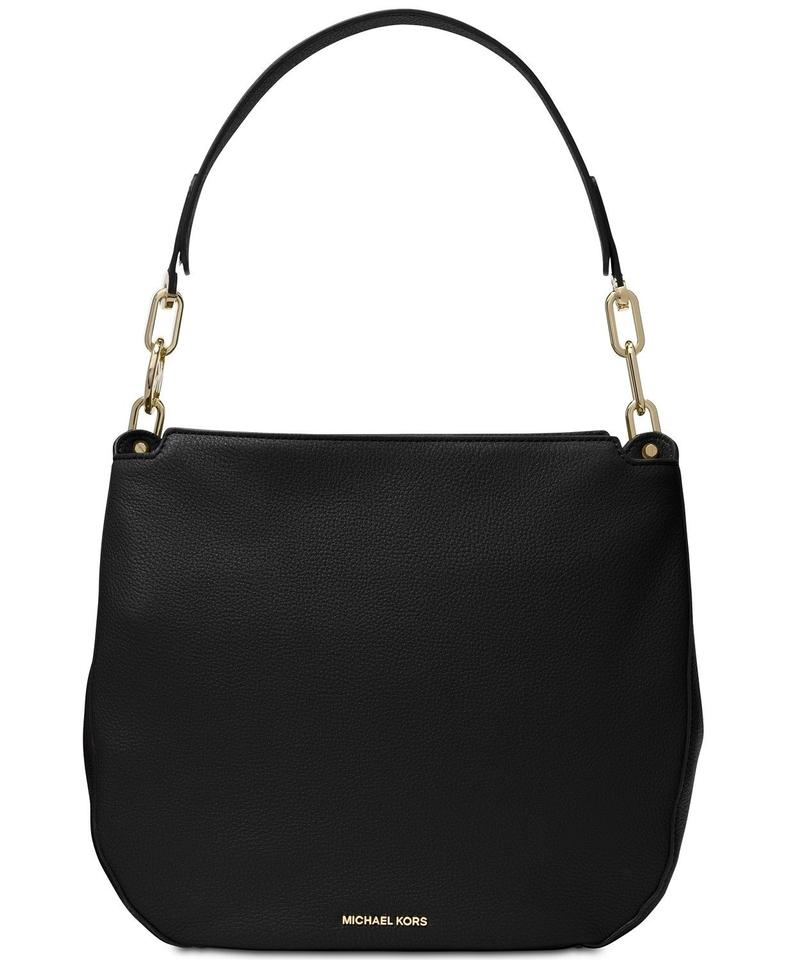 6d582391d339 Michael Kors Fulton Large Hobo Black Leather Shoulder Bag - Tradesy