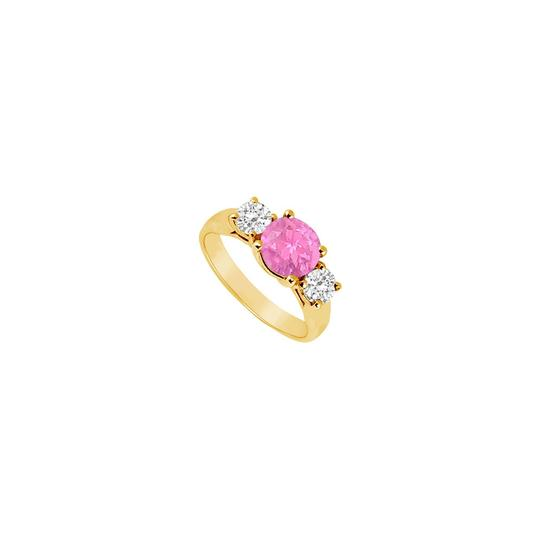 Preload https://img-static.tradesy.com/item/24327058/pink-three-stone-created-sapphire-and-cubic-zirconia-14k-yellow-g-ring-0-0-540-540.jpg