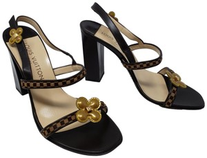 7384e5fe1335 Louis Vuitton Floral Lv Gold Hardware Ankle Strap Monogram Brown Sandals