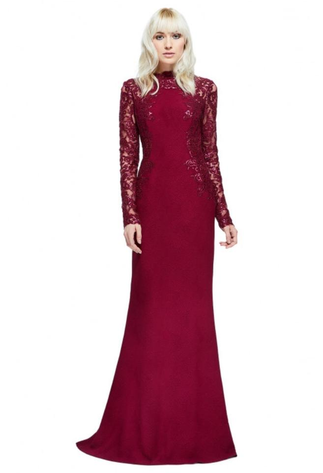 8920641039 Tadashi Shoji Wine Maroon Felicity Lace and Sequin Sleeve Gown Long ...