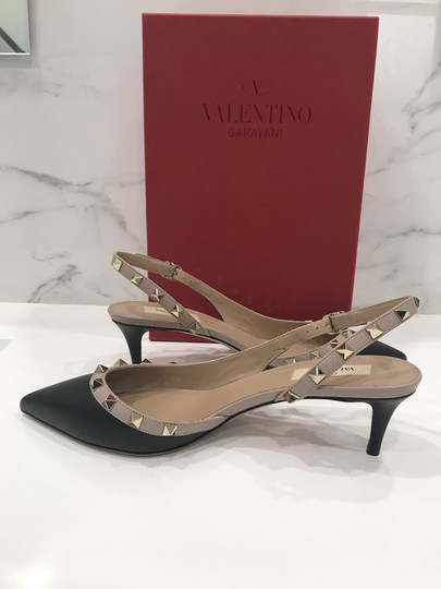 Valentino Studded Stiletto Kitten Pointed Toe Calf Leather black Pumps