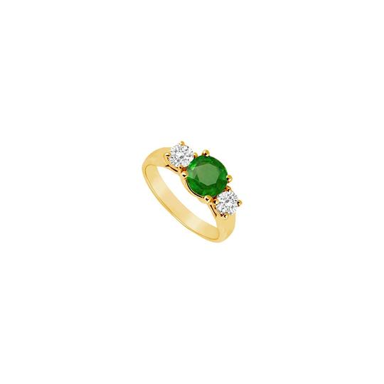 Preload https://img-static.tradesy.com/item/24327238/green-three-stone-created-emerald-and-cubic-zirconia-14k-yellow-gold-1-ring-0-0-540-540.jpg