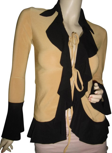 Preload https://img-static.tradesy.com/item/24327278/mustard-yellow-black-cascading-ruffle-unique-tie-front-cardigan-size-6-s-0-1-650-650.jpg