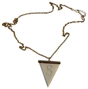 Other Yellow Gold Triangle Necklace with the letter S