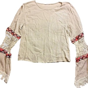 Hot & Delicious Baby Doll Crochet Lace Indian Tribal Pattern Hippy Top Beige