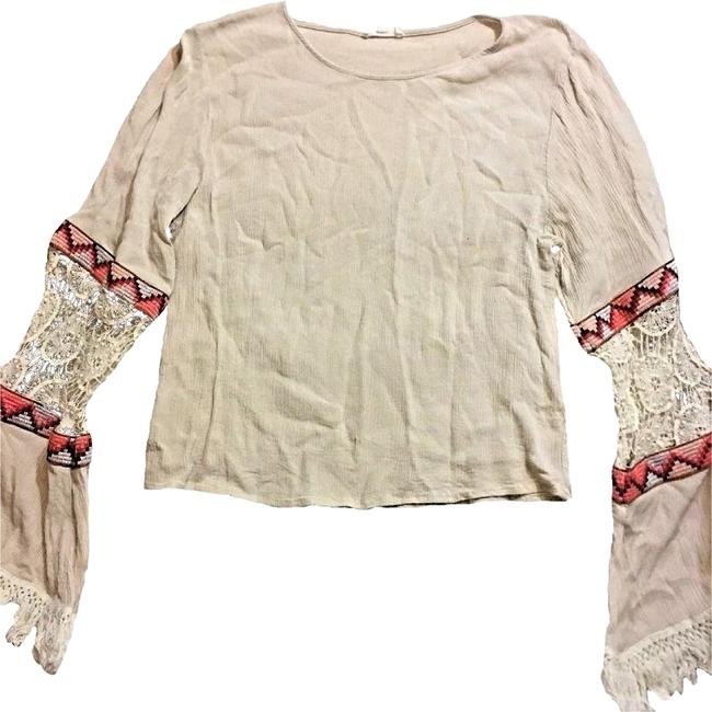 Preload https://img-static.tradesy.com/item/24327336/hot-and-delicious-beige-boho-peasant-gypsy-tribal-hippie-embroidered-lace-bell-sleeve-ml-blouse-size-0-3-650-650.jpg