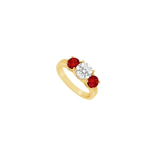 Preload https://img-static.tradesy.com/item/24327347/red-three-stone-created-ruby-and-cubic-zirconia-14k-yellow-gold-150-ring-0-0-540-540.jpg
