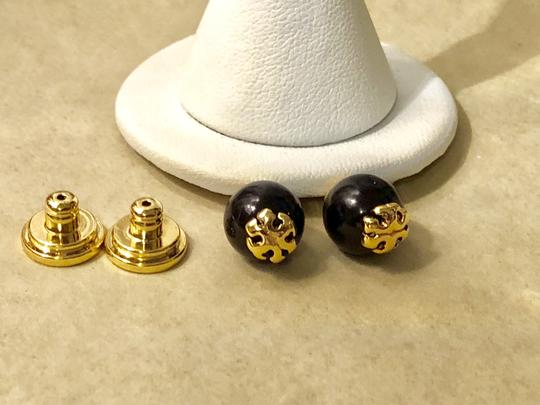 Tory Burch Tory Burch Evie Black Crystal Pearl Gold Logo Stud Earrings
