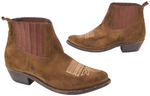Golden Goose Deluxe Brand Western Distressed Suede Cowboy Brown Boots