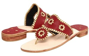 Jack Rogers red, gold trim, tan Sandals