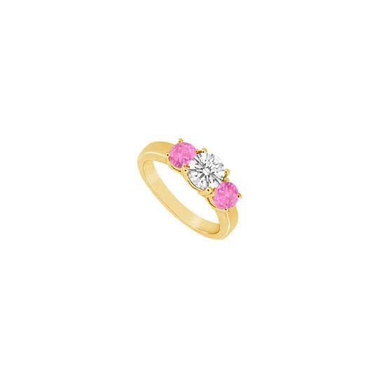Preload https://img-static.tradesy.com/item/24327440/pink-three-stone-created-sapphire-and-cubic-zirconia-14k-yellow-g-ring-0-0-540-540.jpg