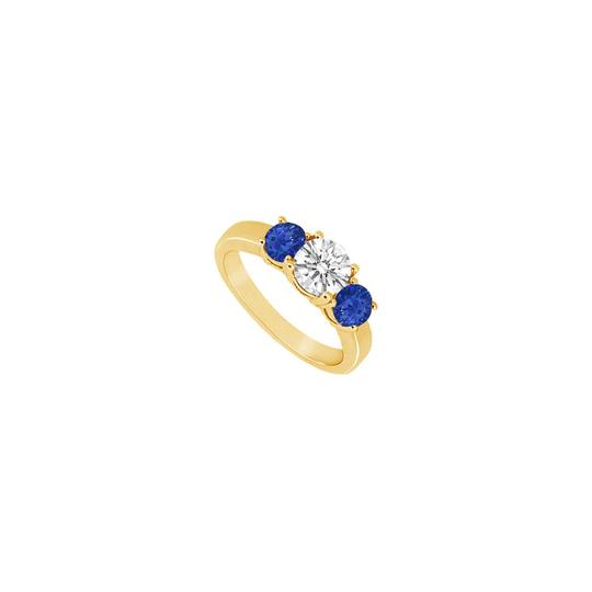 Preload https://img-static.tradesy.com/item/24327447/blue-three-stone-created-sapphire-and-cubic-zirconia-14k-yellow-gold-1-ring-0-0-540-540.jpg