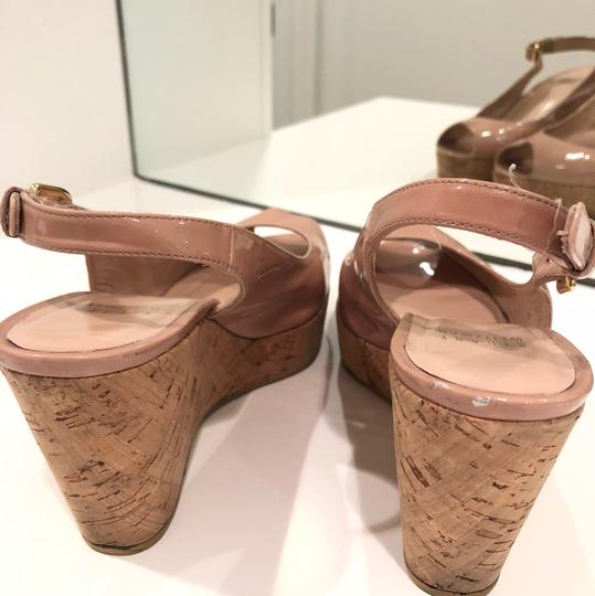 Stuart Weitzman tan patent leather Wedges
