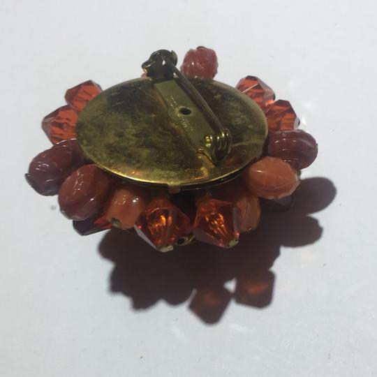 Vintage Vintage amber beaded flower brooch pin