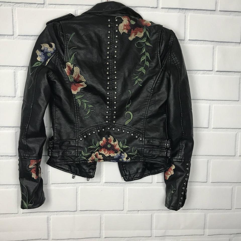 729f1ad0a BlankNYC Multi Color Floral Embroidered Vegan Leather Moto Jacket Size 0  (XS) 45% off retail