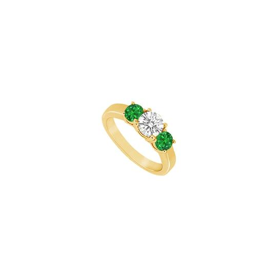 Preload https://img-static.tradesy.com/item/24327670/green-three-stone-created-emerald-and-cubic-zirconia-14k-yellow-gold-0-ring-0-0-540-540.jpg