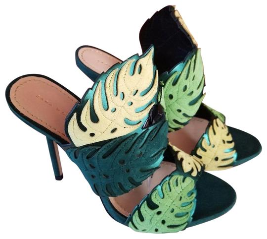Zara Leather Tropical Resort Multicolor GREEN Sandals