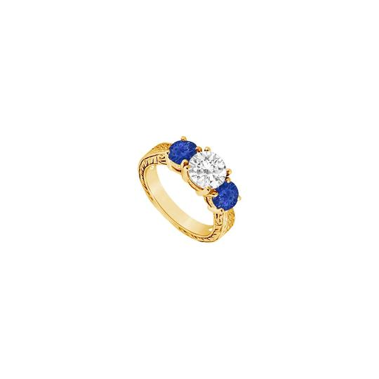 Preload https://img-static.tradesy.com/item/24327752/blue-three-stone-created-sapphire-and-cubic-zirconia-14k-yellow-gold-1-ring-0-0-540-540.jpg