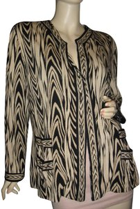 Neiman Marcus Animal Print Robert Janan Border Print Unique Snap Closures Cardigan