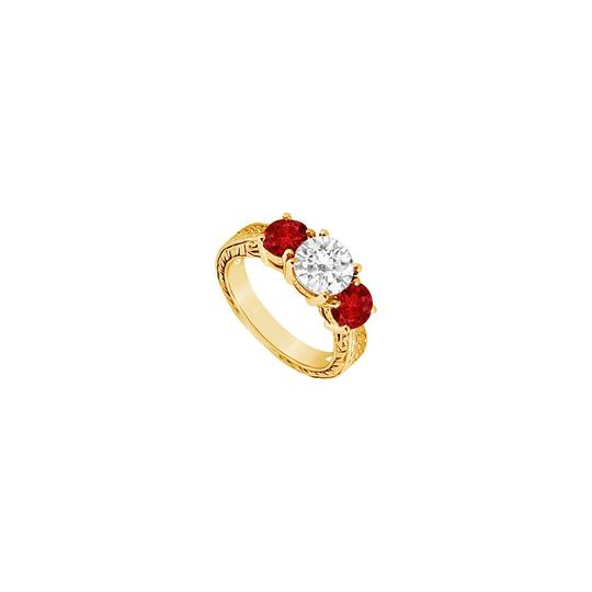 Preload https://img-static.tradesy.com/item/24327760/red-three-stone-created-ruby-and-cubic-zirconia-14k-yellow-gold-150-ring-0-0-540-540.jpg