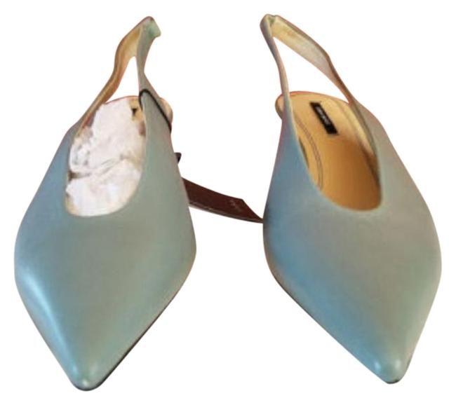 Item - Blue Green New Slingback Leather High Heel - Formal Shoes Size US 6.5 Regular (M, B)