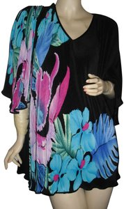 Virginie of Paris French Style Made In France Leonard Large Flowers Fully Pleated Tunic