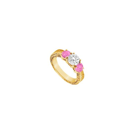 DesignerByVeronica Three Stone Created Pink Sapphire and Cubic Zirconia Ring 14K Yellow G