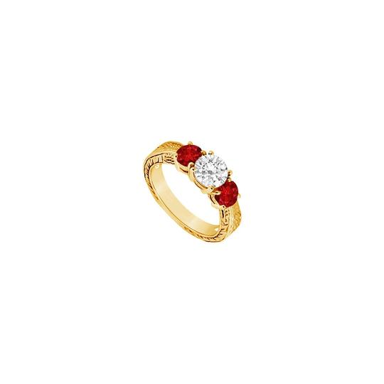 Preload https://img-static.tradesy.com/item/24327820/red-three-stone-created-ruby-and-cubic-zirconia-14k-yellow-gold-100-ring-0-0-540-540.jpg