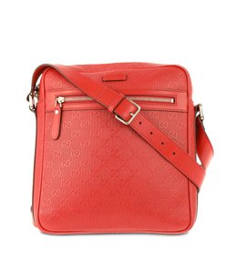 Gucci Guccissima Calfskin Red Messenger Bag