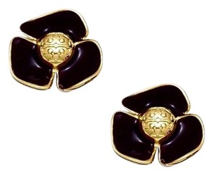 Tory Burch Tory Burch Black Fleur Flower Earrings