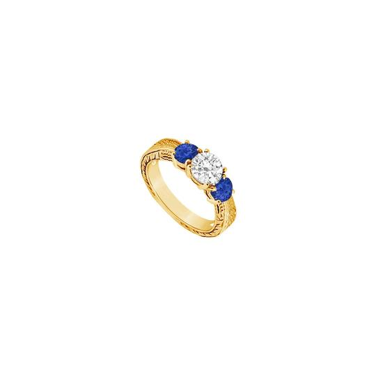Preload https://img-static.tradesy.com/item/24327906/blue-three-stone-created-sapphire-and-cubic-zirconia-14k-yellow-gold-0-ring-0-0-540-540.jpg