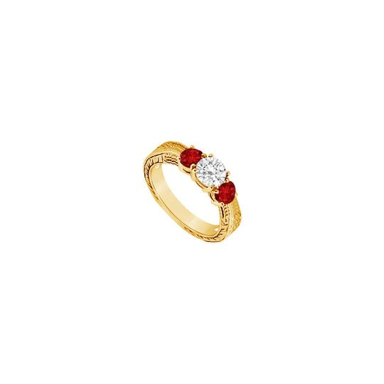 Preload https://img-static.tradesy.com/item/24327939/red-three-stone-created-ruby-and-cubic-zirconia-14k-yellow-gold-050-ring-0-0-540-540.jpg
