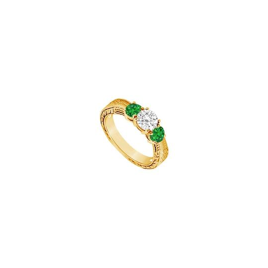 Preload https://img-static.tradesy.com/item/24327949/green-three-stone-created-emerald-and-cubic-zirconia-14k-yellow-gold-0-ring-0-0-540-540.jpg