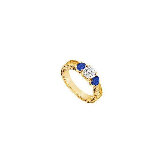 Preload https://img-static.tradesy.com/item/24327957/blue-three-stone-created-sapphire-and-cubic-zirconia-14k-yellow-gold-0-ring-0-0-540-540.jpg