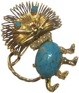 Vintage Vintage gold wire blue stone cat brooch pin