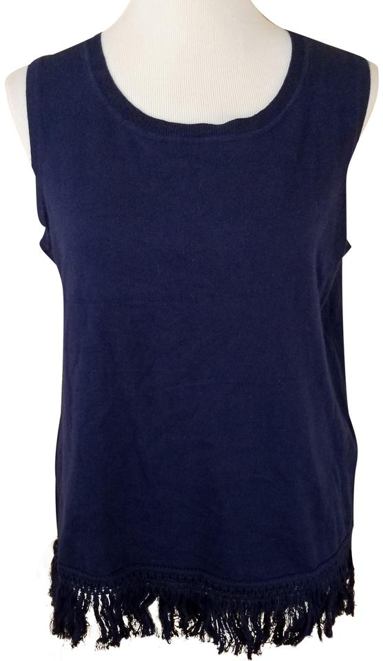0093285d27b4b5 Sail to Sable Blue Navy Knit Fringe Solid Cotton Blend Tank Top Cami ...