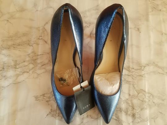 Zara Metallic blue Wedges