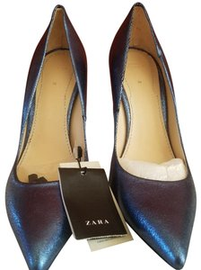 Zara Leather Metallic blue Wedges