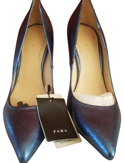 Item - Metallic Blue New Leather High Heels Pointy Career Pumps Size US 6 Narrow (Aa, N)