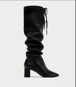 Zara Leather High Street Chunky Black Boots
