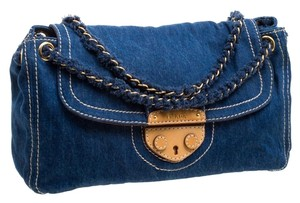 Prada Denim Flap Canvas Shoulder Bag